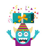 Happy birthday card with monster Stock Photography