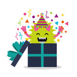 Happy birthday card with monster Stock Photos