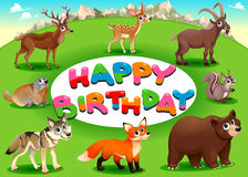 Happy Birthday card with mountain animals royalty free stock photos