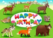Happy Birthday card with mountain animals Royalty Free Stock Photos