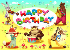 Happy Birthday card with musician animals royalty free stock images