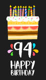 Happy Birthday card 91 ninety four year cake. Happy birthday number 94, greeting card for ninety four years in fun art style with cake and candles. Anniversary stock illustration