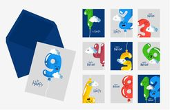 Happy birthday card number envelope part of set. The number for birthday greeting card in envelope. Vector graphics royalty free illustration