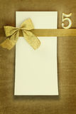 Happy birthday card with number five. Happy birthday card on golden background Royalty Free Stock Image