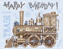 Happy birthday card with old locomotive on blue Royalty Free Stock Photo