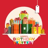 Happy Birthday Card with Paper Gift Boxes Pile. stock illustration