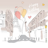 Happy birthday card from Paris street, Eiffel tower and balloons Stock Image