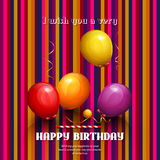 Happy birthday card. Party colorful balloons and streamers on stripes background. Vector. Royalty Free Stock Image