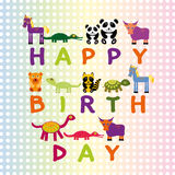 Happy birthday card on pastel color background Funny Animals. Ve Royalty Free Stock Photography