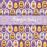 Happy Birthday Card. pattern orange Russian dolls matryoshka on Stock Image