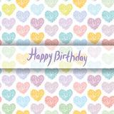 Happy Birthday Card. pattern with sketch hearts on a white background. Pastel color. Pink, blue, green, orange, purple color.