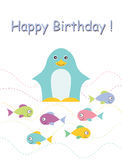 Happy birthday card with penguin. And fish. Childish background. Holiday design. Vector illustration Royalty Free Stock Photography