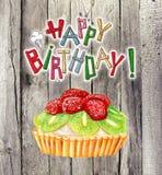 Happy birthday card with pie Royalty Free Stock Photo