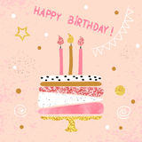 Happy Birthday card in pink. Birthday cake with candles. Royalty Free Stock Images