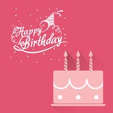 Happy birthday card pink cake lettering confetti. Illustration eps 10 Royalty Free Stock Images