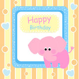 Happy birthday card with pink elephant Royalty Free Stock Images