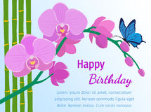 Happy birthday card with pink orchid on blue background. Vector. Branch of pink orchids, bamboo stems and butterfly in flat style. Happy birthday greeting card Stock Photo