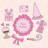 Happy Birthday card with pink sticker with text, cake and gift. Letter and other. Vector illustration Royalty Free Stock Photos