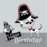 Happy Birthday Card pirate dog funny Royalty Free Stock Images