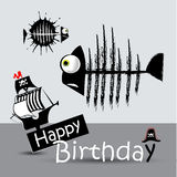 Happy Birthday Card pirate fish  funny Stock Photos