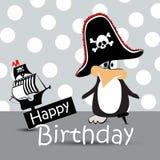 Happy Birthday Card pirate penguin Stock Photos