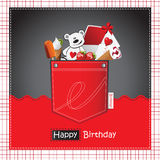 Happy Birthday Card pocket red Royalty Free Stock Images