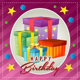 Happy birthday card with present box. Additional file in eps 10 Stock Image