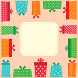Happy Birthday card. With presents and frame Royalty Free Stock Image