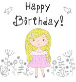 Happy birthday card. pretty little girl vector illustration.  Stock Images