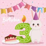 Happy birthday card with rabbit. Vector illustration design vector illustration