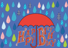 Happy birthday card with rain drops Stock Photography