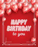Happy Birthday Card with Red Balloons, Confetti and White Frame. Vector Illustration Royalty Free Stock Photo