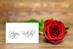 Happy Birthday card. And red rose Royalty Free Stock Photo