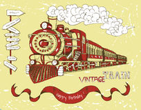 Happy birthday card with red train on yellow Stock Photography