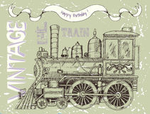 Happy birthday card with retro locomotive and banner Stock Image