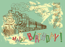 Happy birthday card with retro train with letters Royalty Free Stock Photography