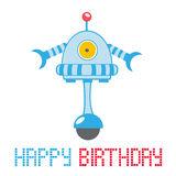 Happy birthday card with robot Stock Image