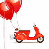Happy birthday card with scooter and red balloons in cartoon style. Vector illustration. Royalty Free Stock Image