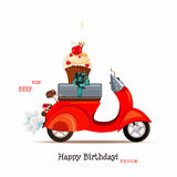 Happy birthday card with scooter and red balloons in cartoon style. Vector illustration. Royalty Free Stock Images
