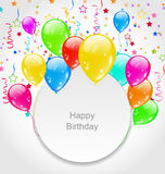 Happy Birthday Card with Set Balloons and Confetti Royalty Free Stock Photos