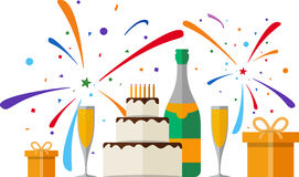 Happy Birthday. Card. Set of champagne, gift boxes, fireworks and cake. EPS 10 Stock Photos