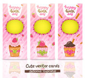 Happy Birthday card set with cupcake. Cute cartoon Happy Birthday card set with cupcake. Holiday vector background vector illustration