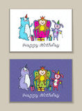 Happy birthday card set with owl, bear and rabbit characters. Stock Images