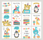 Happy Birthday card set. Vector illustration Royalty Free Stock Images