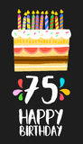Happy Birthday card 75 seventy five year cake. Happy birthday number 75, greeting card for seventy five years in fun art style with cake and candles. Anniversary Royalty Free Stock Images