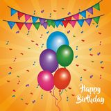 Happy birthday card shining balloons multicolor confetti pennants. Vector illustration Stock Image