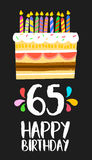 Happy Birthday card 65 sixty five year cake. Happy birthday number 65, greeting card for sixty five years in fun art style with cake and candles. Anniversary Stock Images
