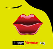 Happy birthday card smile kiss Stock Photos