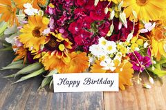 Happy Birthday Card with Spring Flowers.  royalty free stock photos