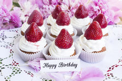 Happy Birthday Card with Strawberries Cupcakes Stock Photos